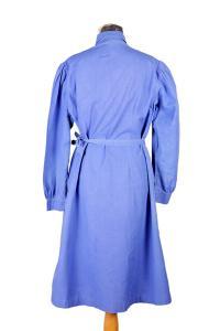 1930's french indigo linen woman work dress