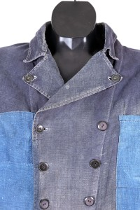1930's french Villette double-breasted indigo linen chore jacket