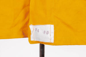 1950's french SNCF (railway) yellow linen jacket, lemagasin, vintage clothing, french workwear, antique clothing, french antique clothing