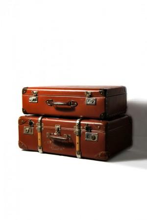 A pair of 40's Transatlantic suitcases