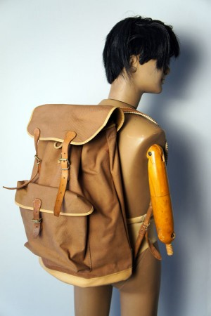50's duck brown canvas backpack
