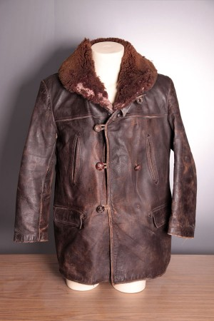 """1940's french leather """"canadienne"""""""