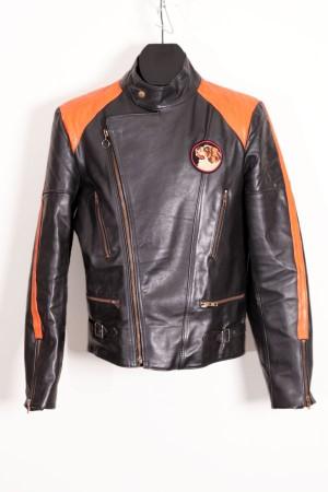 1970's motorcycle black leather jacket