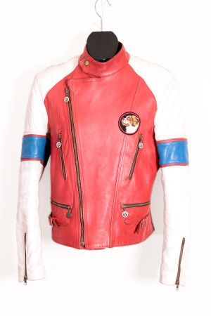 1970's motorcycle red leather jacket