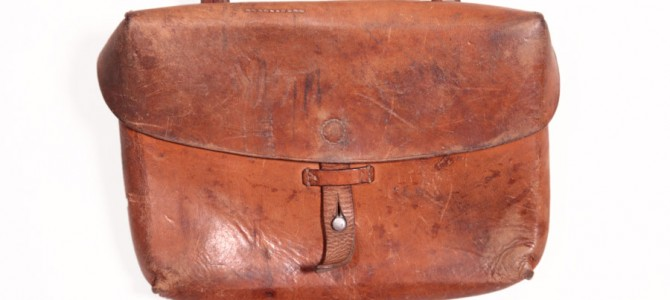 1950's Swiss army leather shoulder bag