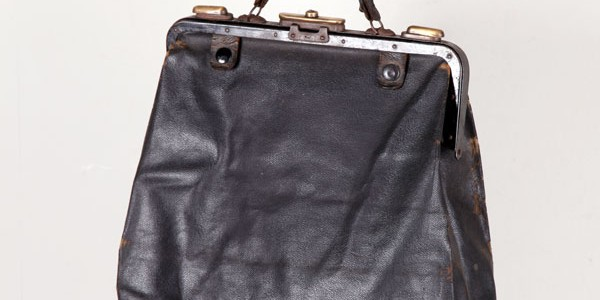 1930's black leather handbag