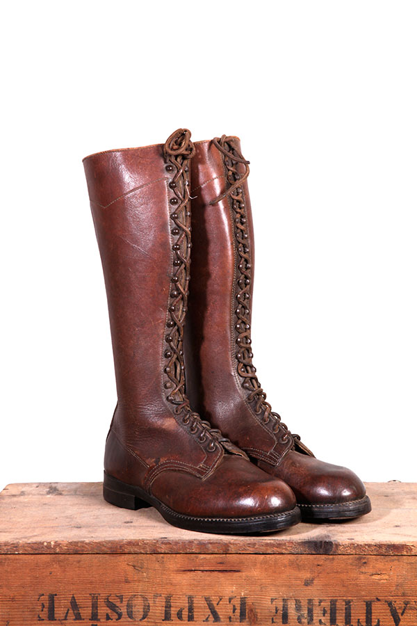 1950 S French Leather Lace Up Boots