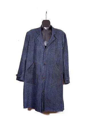 1930's dark indigo linen duster