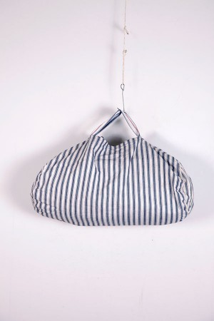 1930's french stripped canvas sewing bag
