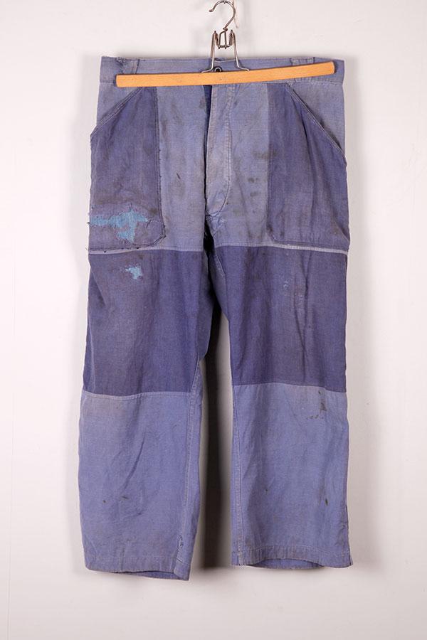 1950's indigo linen patched work pants