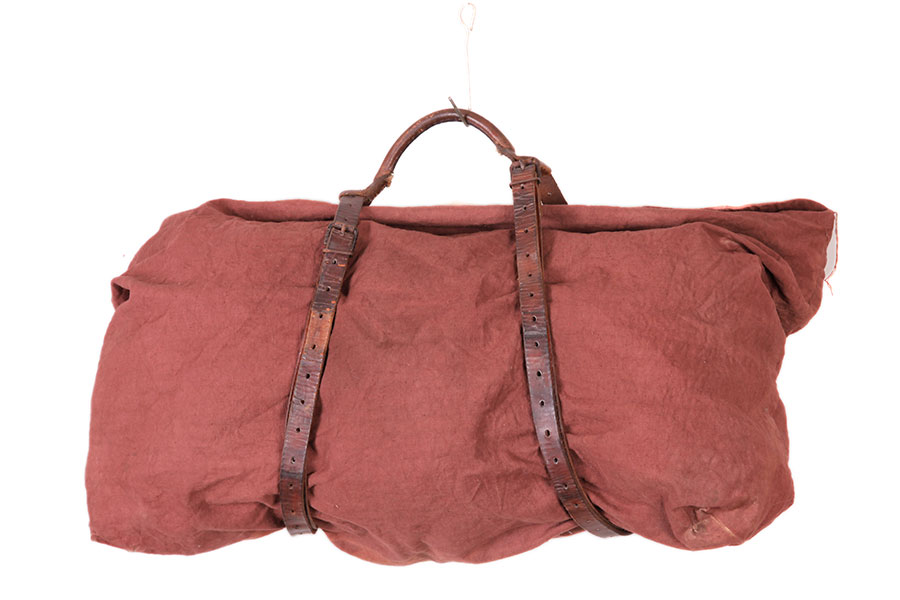 Late 40's french brown canvas handbag