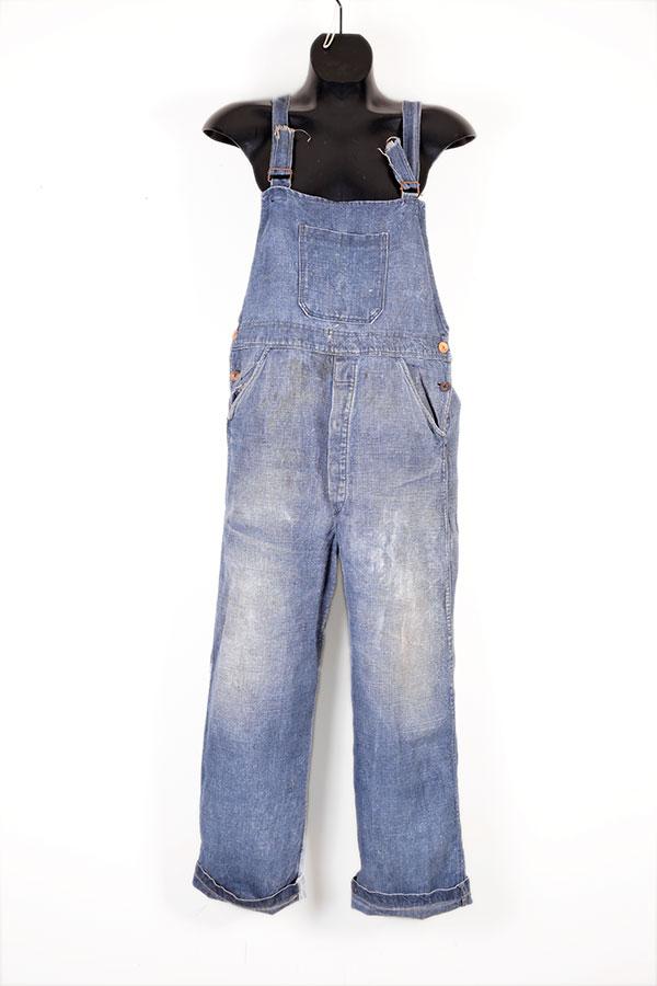 1930's french indigo linen overall