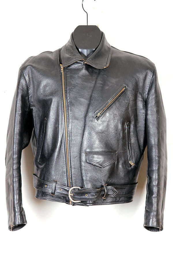 1950's french motorcyclist leather jacket