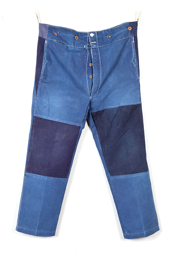 1930's french indigo linen patched pants
