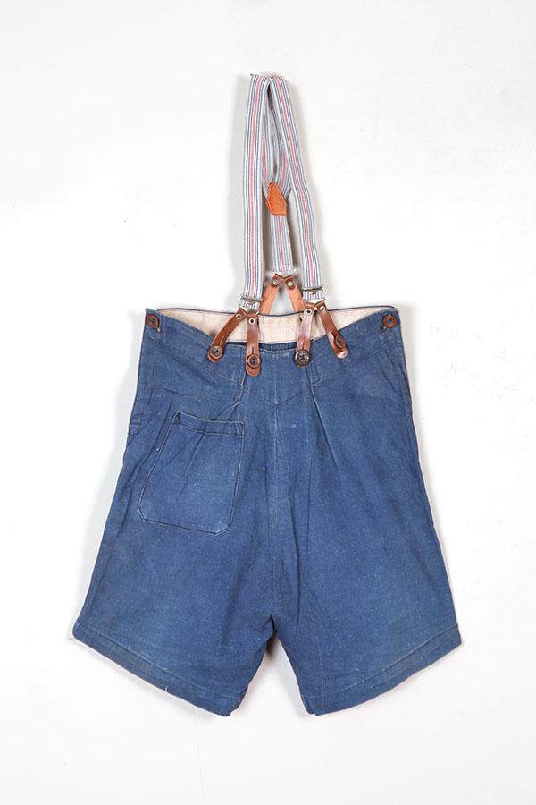 1930's indigo linen kids shorts