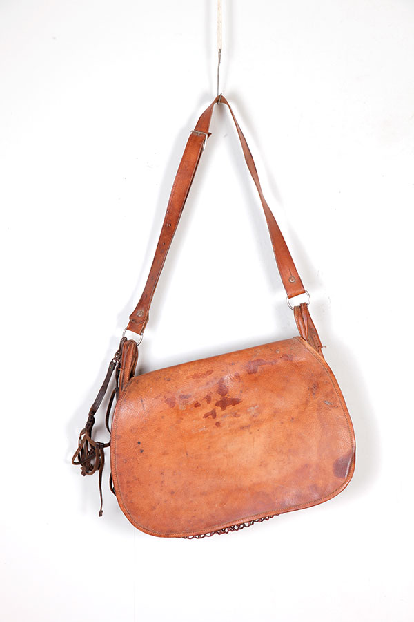1930's french leather hunting bag