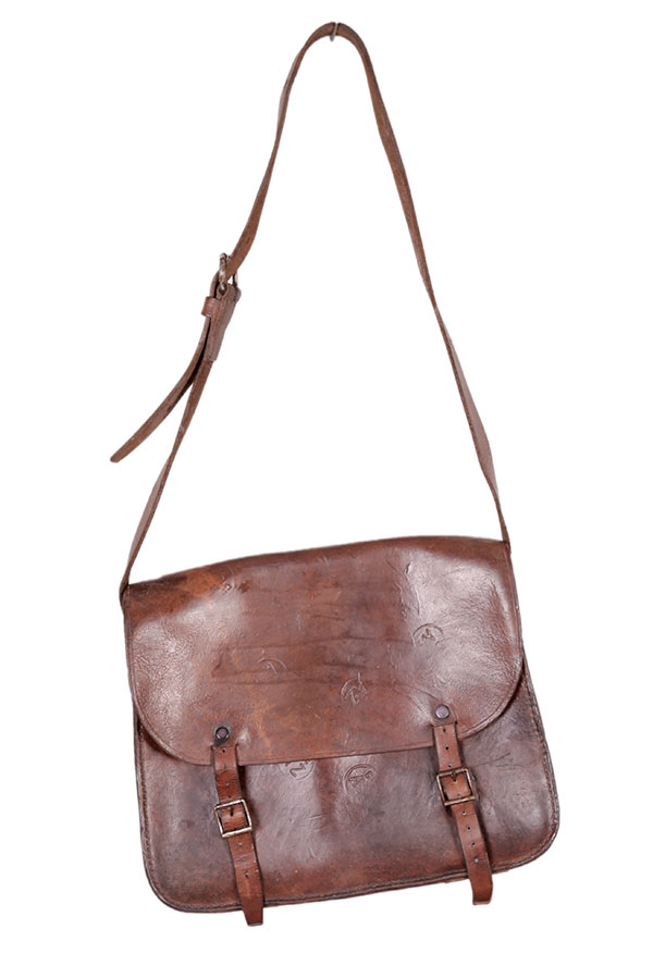1940's french miner leather shoulder bag