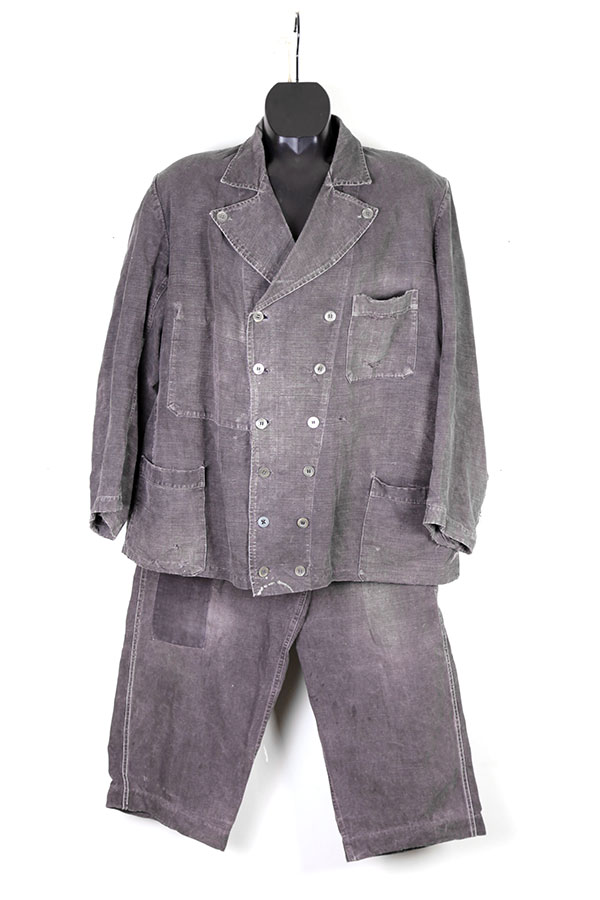 1930's black linen Villette work suit