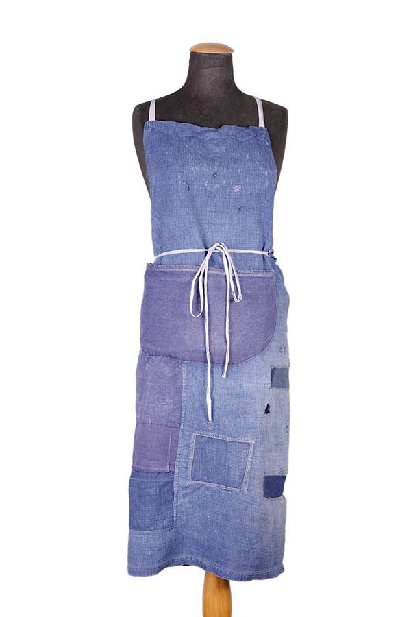 1940's french indigo linen work apron
