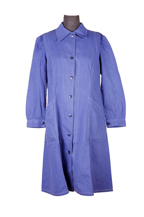 1950's french blue linen woman atelier coat