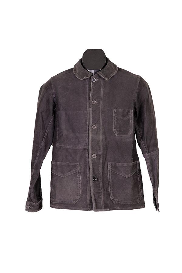 1930's french black moleskin work chore jacket