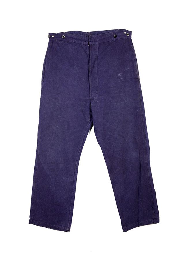 1930's french indigo linen work pants