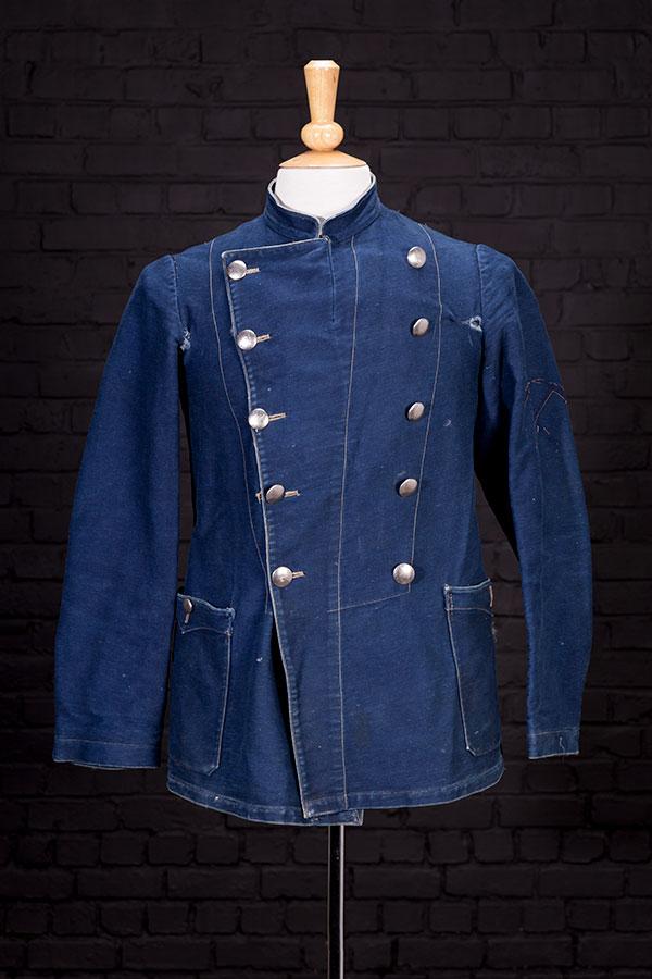 1930's french double-breasted indigo fireman chore jacket