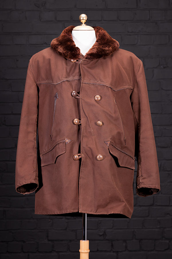 1940's french brown canvas mackinaw jacket