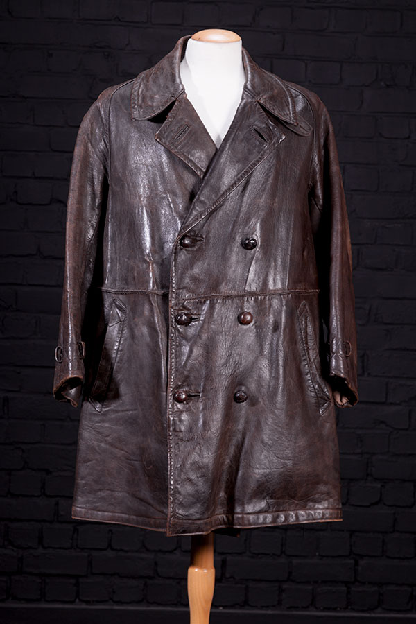 1930's french motorcyclist leather coat