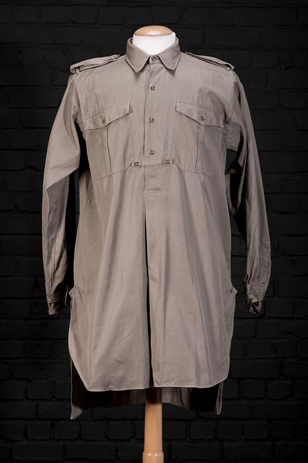 1940's french kaki linen work shirt
