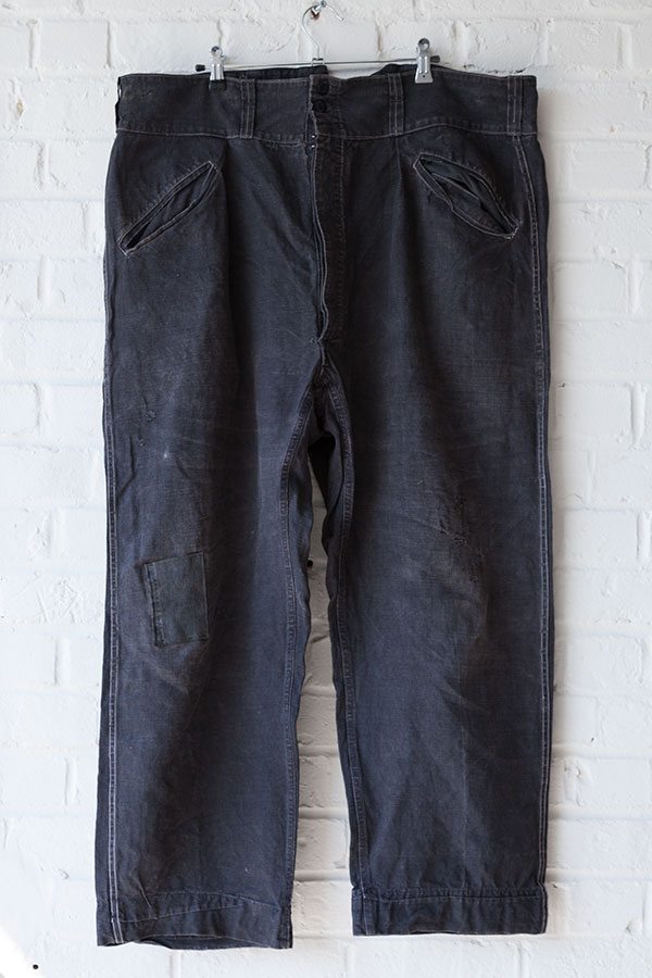 1930's black linen Villette work pants
