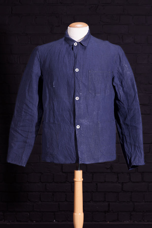 1930's belgian miner indigo linen chore jacket