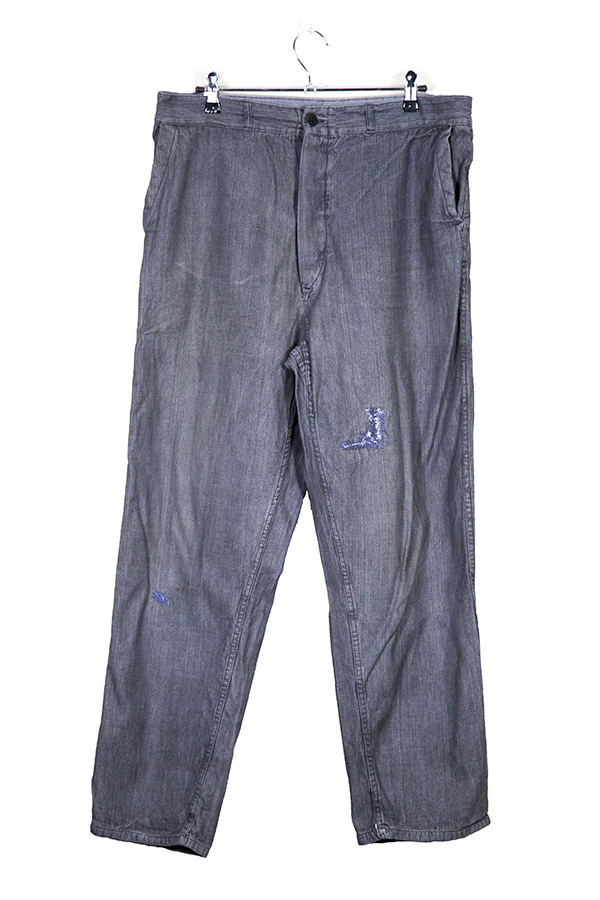 1940's french herringbone chambray pants