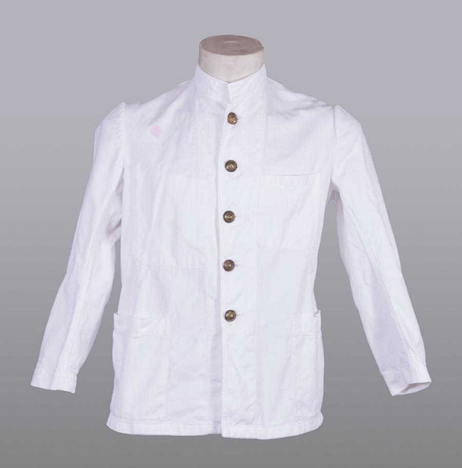 1950's french fireman white work jacket