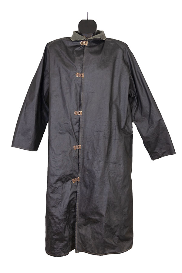 1940's black rubber rain coat