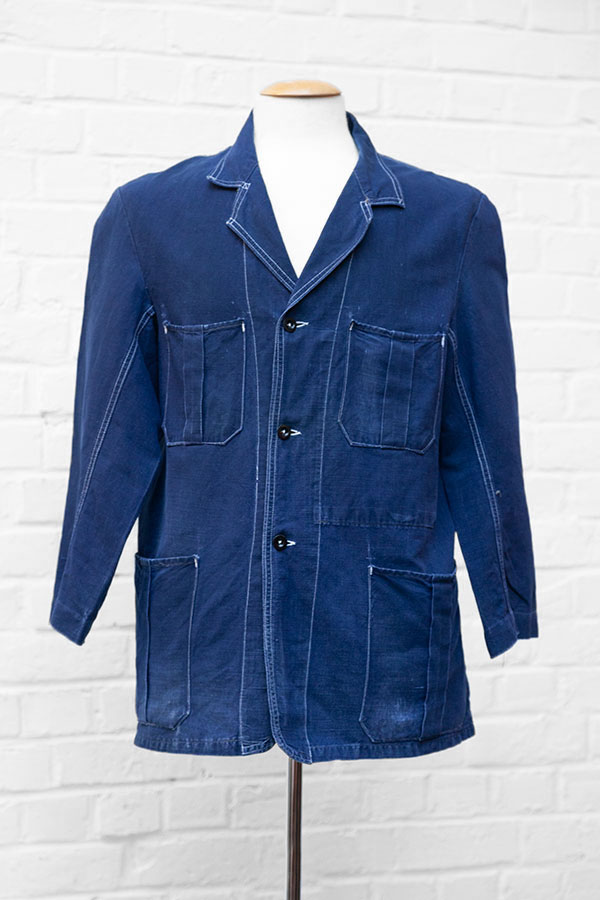 1940's french indigo linen chore jackets