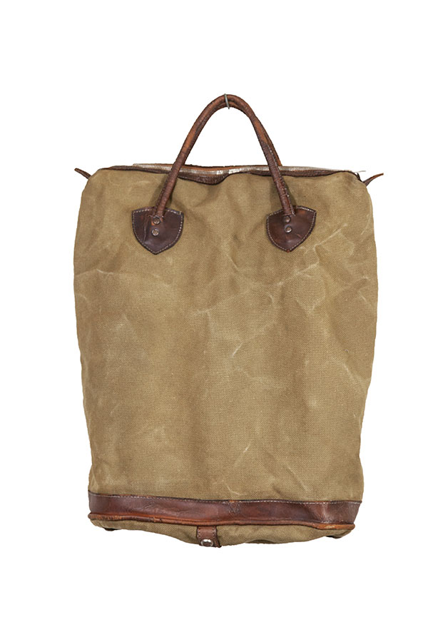 1940's canvas & leather tote bag