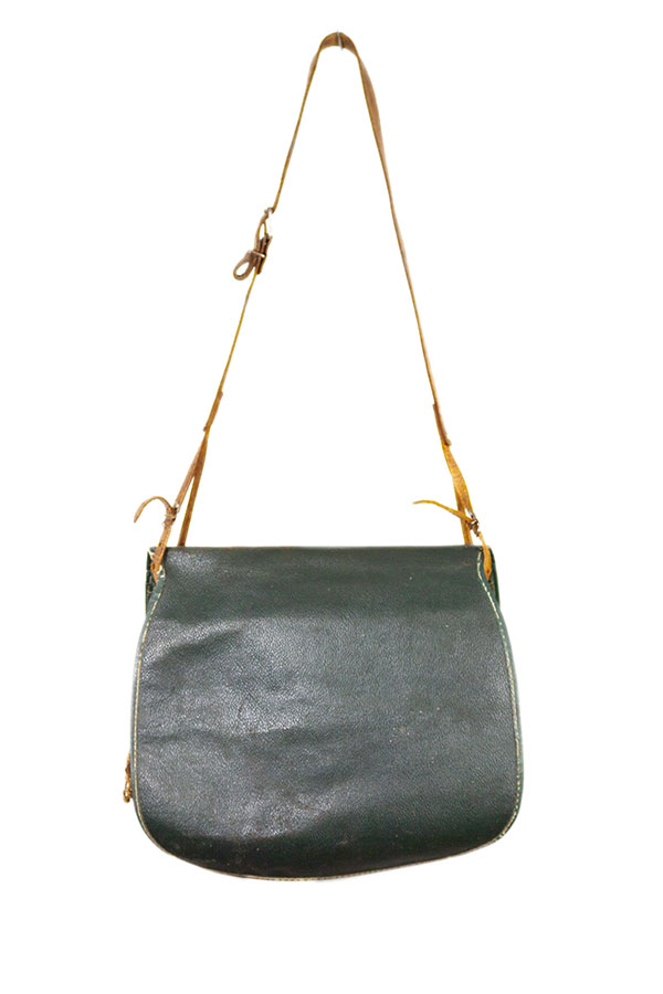 1950's french hunting green leather bag