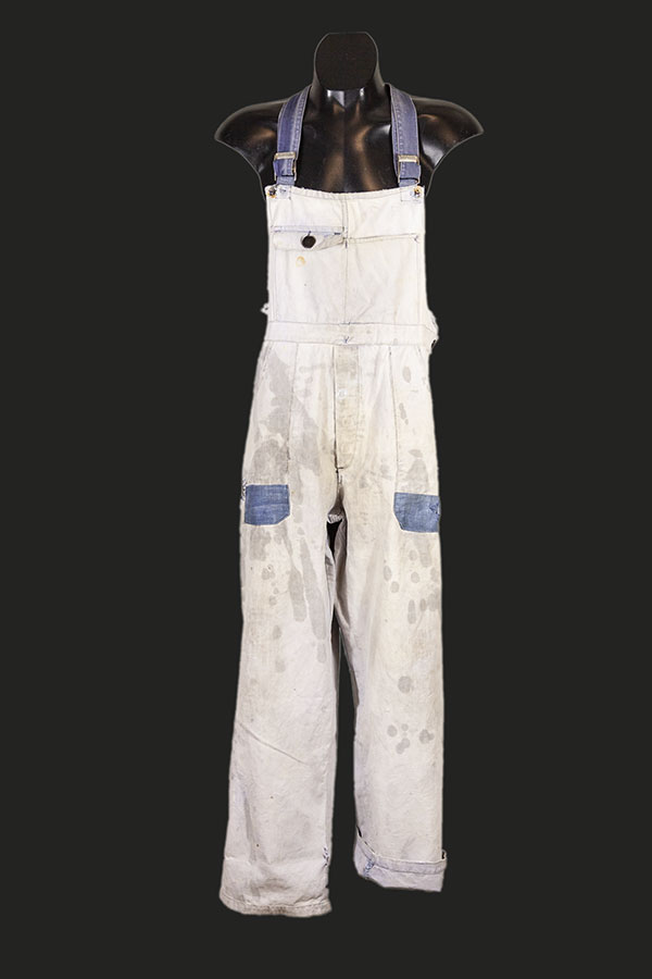 1930's Le Populaire french indigo bleached linen overall