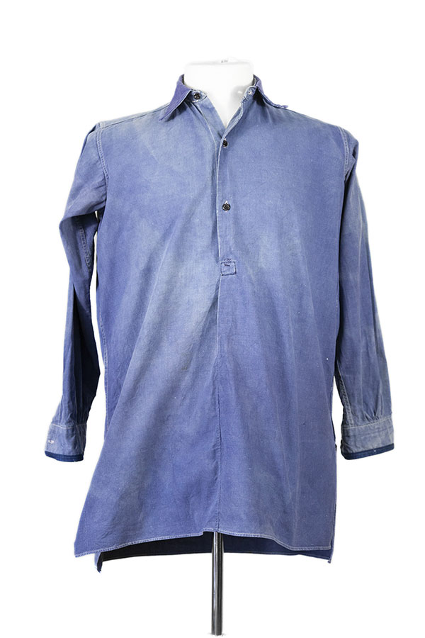 1930's french indigo linen work shirt
