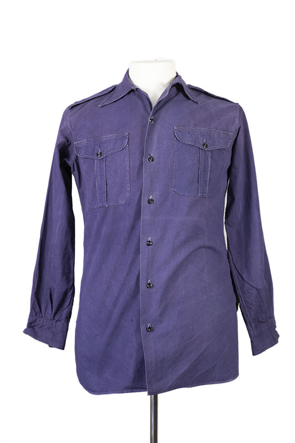 1950's french indigo linen military shirt
