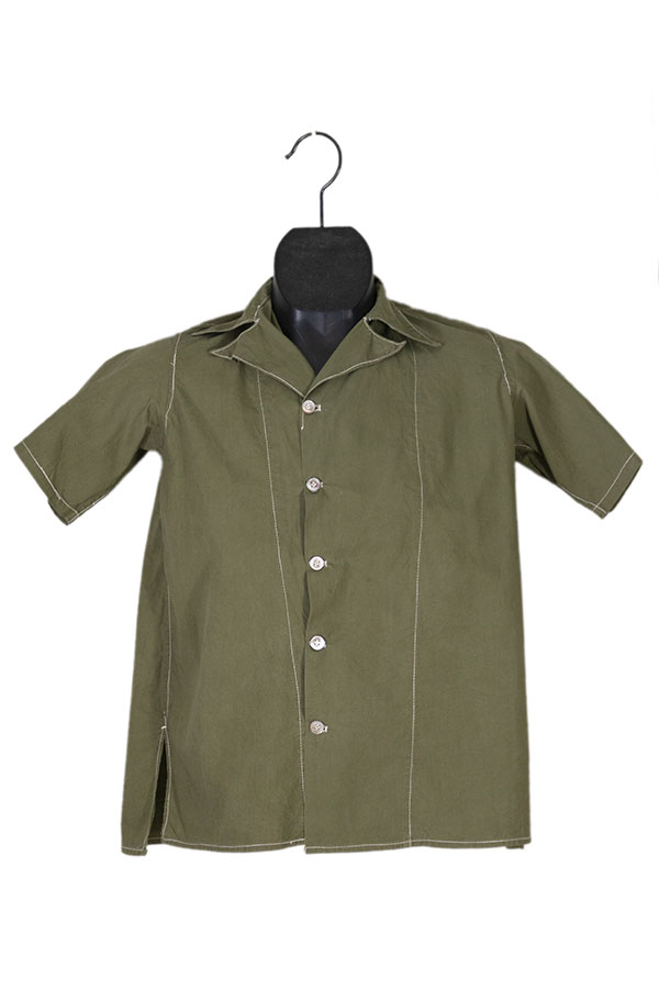 1950's short sleeves olive green linen shirt