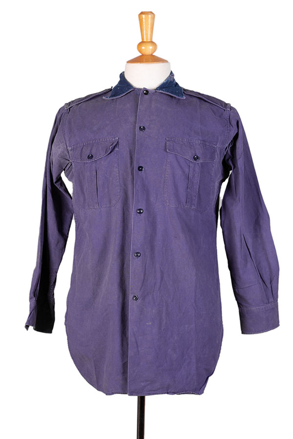 1950's french army air force indigo linen shirt