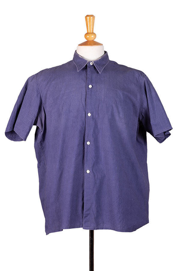 1940's french indigo linen work shirt