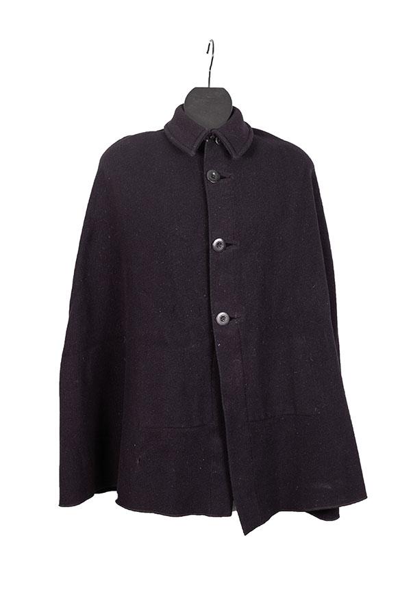1930's french dark blue wool cape coat