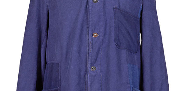 1950's indigo blue patched moleskin chore jacket