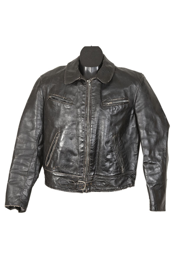 1950's french black leather motorcyclist jacket
