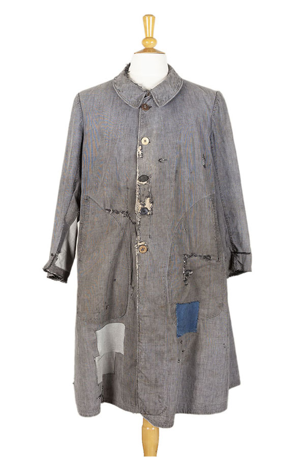1930's patched & mended linen atelier coat