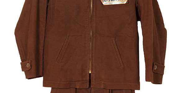 1950's deadstock Sporvil kid brown velvet jacket & shorts