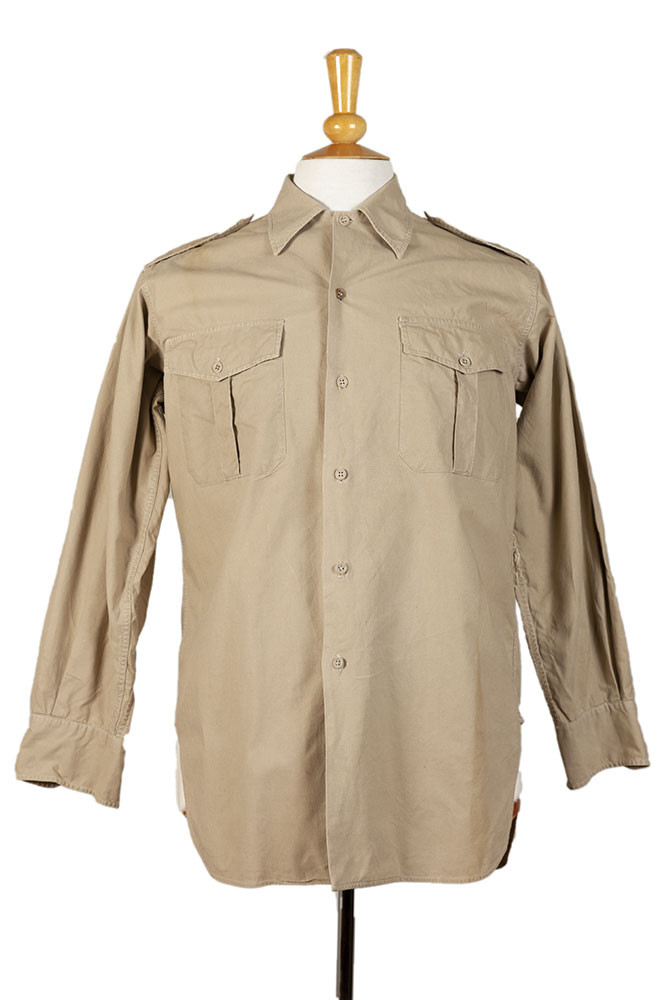 1950's french army beige linen shirts